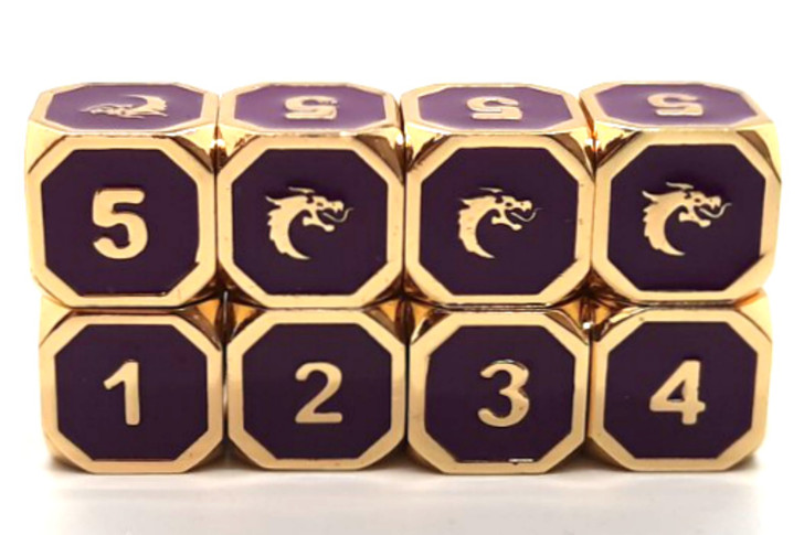 Old School DnD RPG Metal Dice D6 Set: Elven Forged - Purple w/ Gold