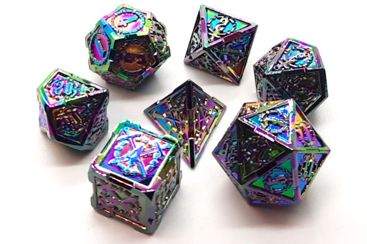 Old School 7 Piece DnD RPG Metal Dice Set: Knights of the Round Table - Spectral