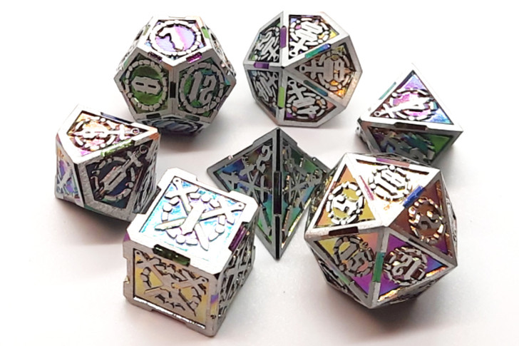 Old School 7 Piece DnD RPG Metal Dice Set: Knights of the Round Table - Spectral w/ Silver