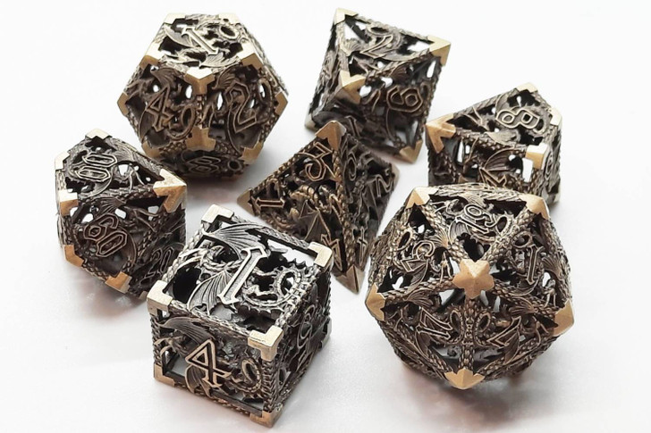 Old School 7 Piece DnD RPG Metal Dice Set: Hollow Dragon Dice - Ancient Gold