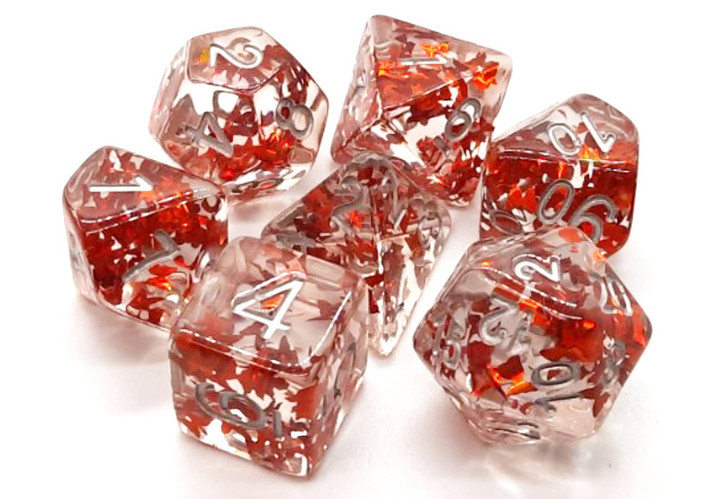 Old School 7 Piece DnD RPG Dice Set: Infused - Orange Butterfly w/ Silver