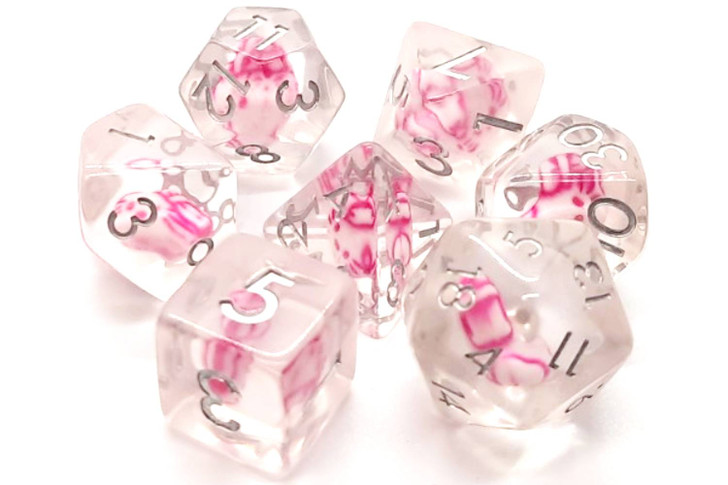 Old School 7 Piece DnD RPG Dice Set: Infused - Purrfect Pink Cat