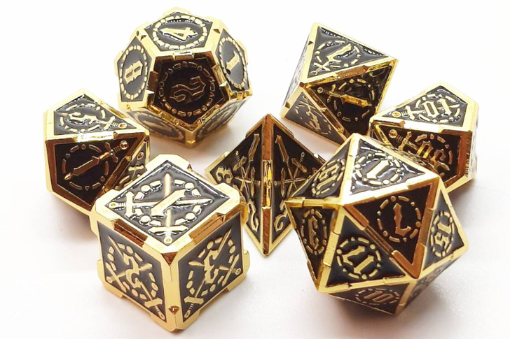 Old School 7 Piece DnD RPG Metal Dice Set: Knights of the Round Table - Black w/ Gold