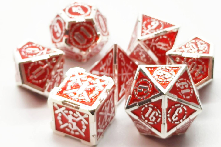 Old School 7 Piece DnD RPG Metal Dice Set: Knights of the Round Table - Red w/ Silver