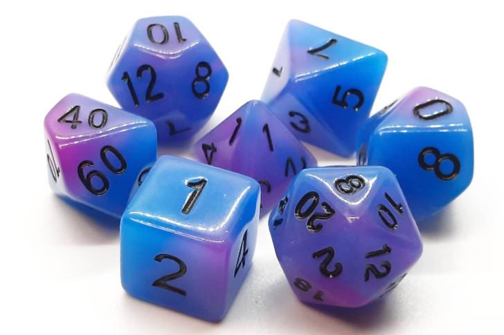 Old School 7 Piece DnD RPG Dice Set: Glow Dice - Blue & Purple