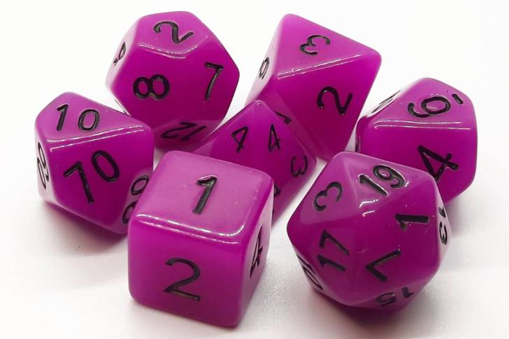 Old School 7 Piece DnD RPG Dice Set: Glow Dice - Purple