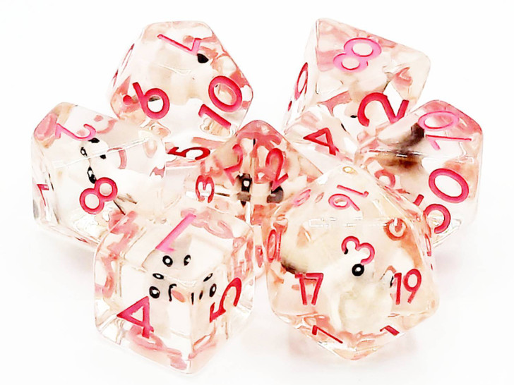 Old School 7 Piece DnD RPG Dice Set: Infused - Pink Bunny Rabbit