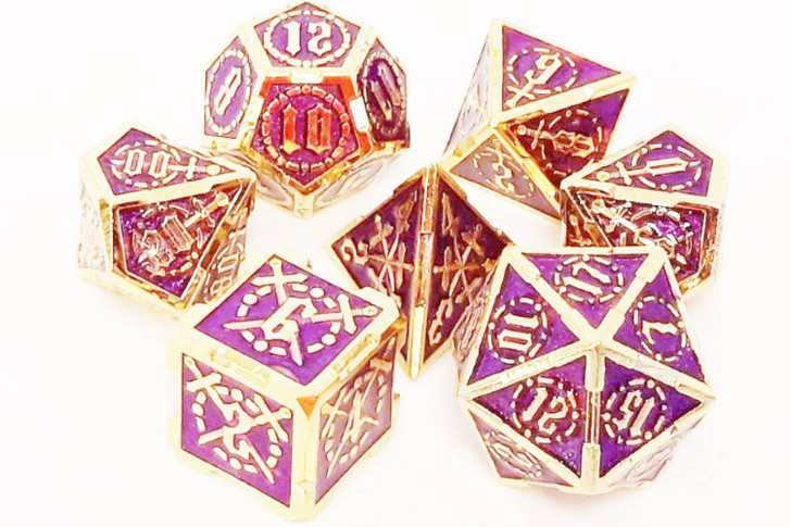 Old School 7 Piece DnD RPG Metal Dice Set: Knights of the Round Table - Purple w/ Gold
