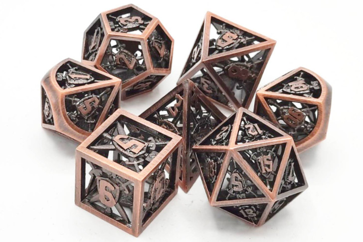 Old School 7 Piece DnD RPG Metal Dice Set: Hollow Sword & Shield Dice - Brushed Copper