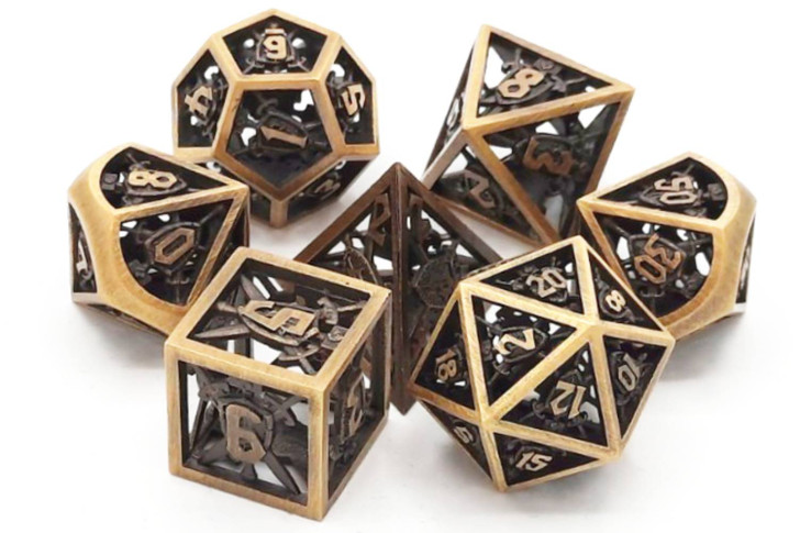 Old School 7 Piece DnD RPG Metal Dice Set: Hollow Sword & Shield Dice - Brushed Gold