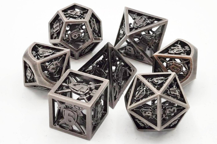 Old School 7 Piece DnD RPG Metal Dice Set: Hollow Sword & Shield Dice - Brushed Silver