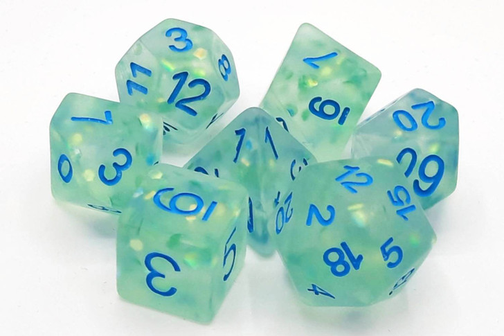 Old School 7 Piece DnD RPG Dice Set: Infused - Frosted Firefly - Cyan