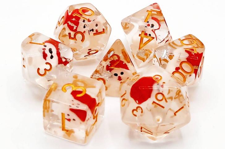 Old School 7 Piece DnD RPG Dice Set: Infused - Santa Claus