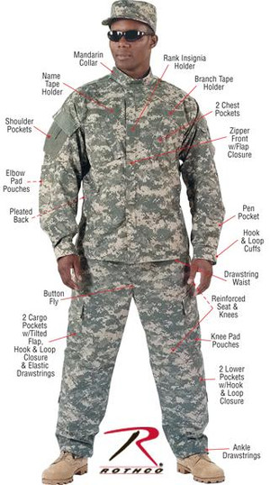 ACU (Army Combat Uniform) Digital Camo Military Combat Uniform