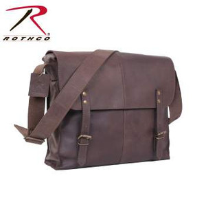 "Rothco's Brown Leather Medic Bag is made with a premium rugged leather that is both durable and stylish. The leather medic bag features a large main compartment w/interior zippered pocket, front flap w/leather strap closures, 1½"" wide adjustable leather shoulder strap, antique brass hardware, 12½"" x 11"" x 3½"""