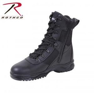 Rothco's Insulated Tactical Boots feature our Thermoblock™ insulation for warmth and are also waterproof, making them the ideal tactical boot for extreme weather conditions. In addition the boots feature a full grain leather vamp, action leather upper, pigskin leather collar, gusseted side zipper and tongue, steel shank, rust proof hardware, speed laces and slip resistant sole.