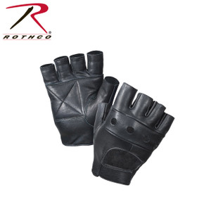 Fingerless Leather Biker Gloves-Made of 100% Genuine Cowhide Leather