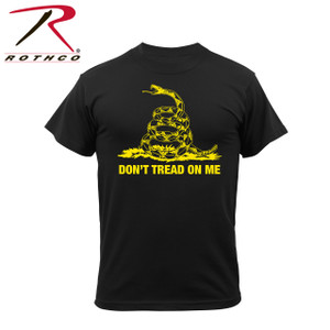 "61060- Don't Tread On Me-Black Tee Rothco's Don't Tread On Me Vintage T-shirt features a super soft washed cotton/poly material for a classic vintage feel, tagless label and classic ""Don't Tread On Me"" saying, representative of the Gadsden Flag."