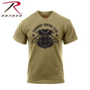 "61570-Terrorist Hunting Club-Olive Drab Tee Rothco 'Terrorist Hunting Club' T-Shirt is made of a comfortable cotton / poly coyote brown material. The T-shirt features a printed ""Terrorist Hunting Club"" design on the front."