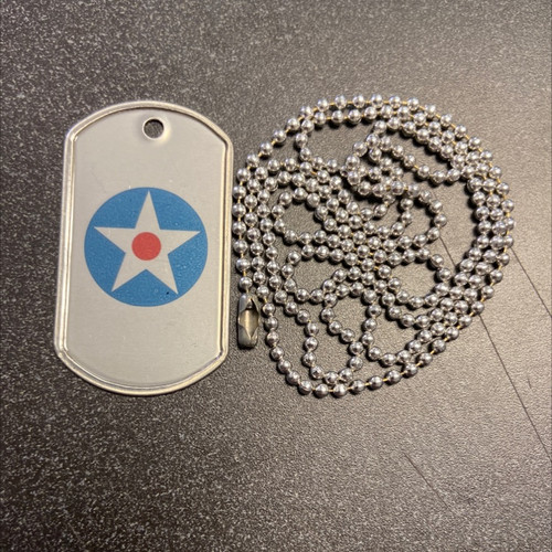 Aircorpcamo Army Air Corp Roundel Printed Dog Tag with Chain (1941)