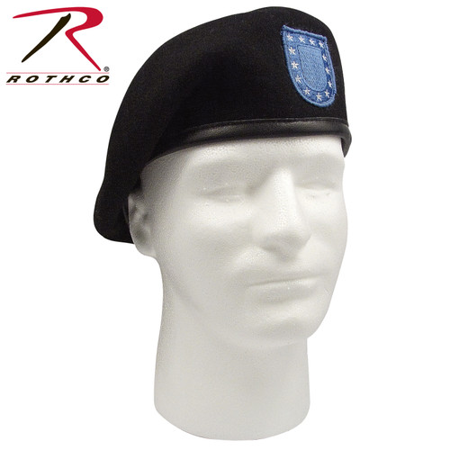 US Army Inspection Ready Black Beret With Flash