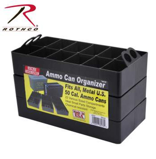 A set of 3 plastic ammo can organizer trays turns any metal or plastic 50 caliber ammo can into a 22 compartment organizer.