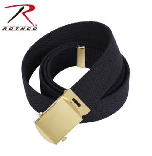 Military Web Belts 54 Inch with Roller Buckle Black/Gold