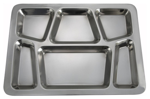 Stainless Steel 6 Compartment Mess Tray