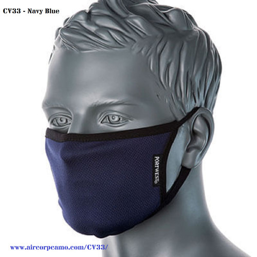 Portwest Anti-Microbial - Re-Washable and Re-Usable 3 Ply Fabric Mask (CV33)