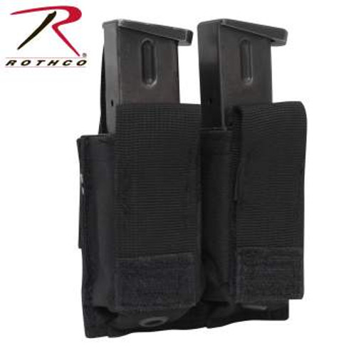 Rothco MOLLE Double Pistol Mag Pouch-Black (51002) pistol magazines (mags) not included