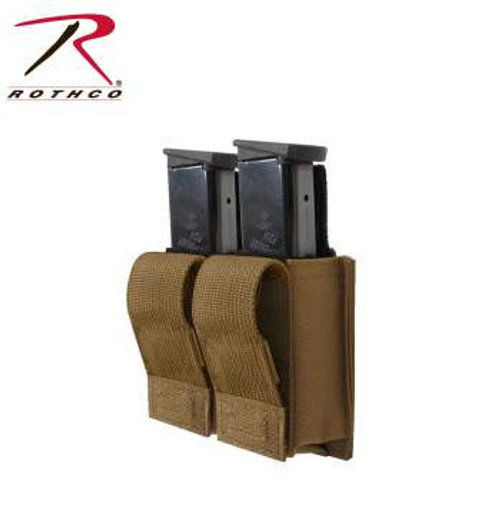 Rothco MOLLE Double Pistol Mag Pouch with insert (51001) Coyote Brown mags not included