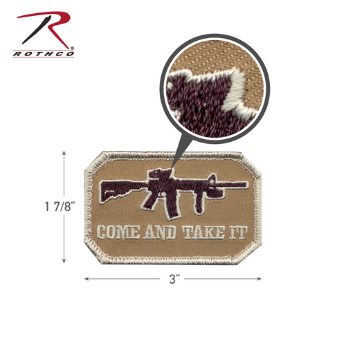 Rothco Come and Take It Morale Patch-Tan with Hook Back (72196)