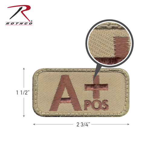 Rothco A Positive Blood Type Morale Patch with Hook Back (73190)