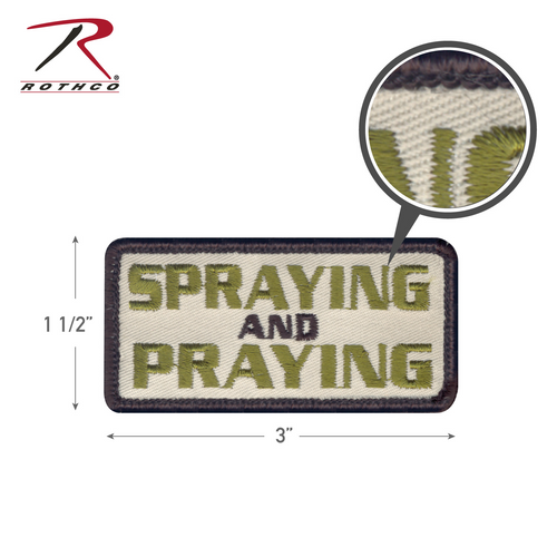 Rothco Spraying and Praying Morale Patch with Hook Back (72193)