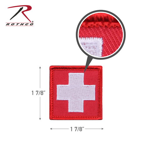 Rothco White Cross Red Morale Patch with Hook Back (72205)