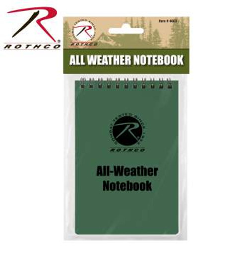 """All Weather Waterproof Notebook-4"""" X 6"""" Olive Drab (4603)"""