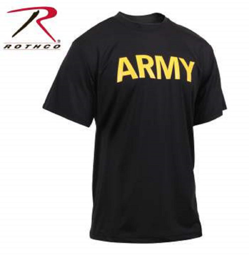 Rothco Army Physical Training Shirt - Black and Gold  (46020)
