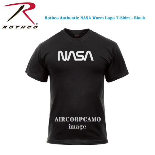 Rothco Authentic NASA Worm Logo T-Shirt - Black (Aircorpcamo does not appear on the shirt itself)