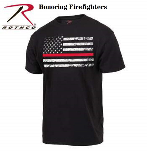 Rothco Thin Red Line Flag T-Shirt - Honoring Firefighters. In our store next Spring, available to order online now!