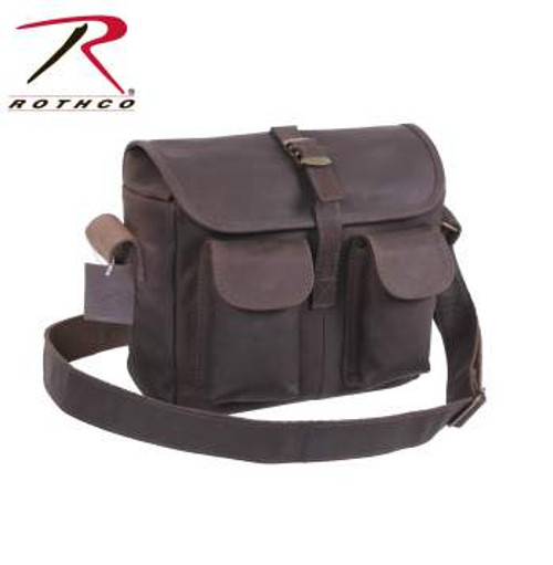 "Rothco's Brown Leather Military Style Ammo Bag is made with a premium rugged leather that is both durable and stylish. The Leather Ammo Bag features main compartment w/interior zippered pocket, 2 front snap closure pockets, front flap w/strap & metal buckle closure, 1½"" wide adjustable leather shoulder strap, antique brass hardware and measures 10"" x 8"" x 3½"