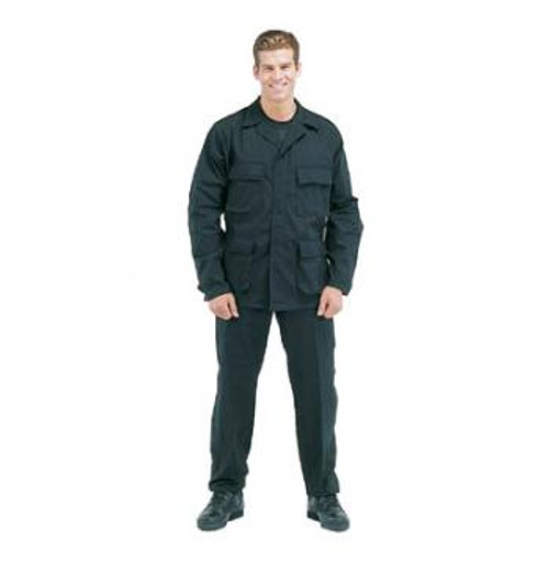 6215 PANTS, BLACK (S-XL) Rothco SWAT Cloth BDUS (shown in black) are the cloth of choice for Federal Agencies. The durable 65% Poly 35% Cotton Rip-Stop material makes the BDU's ideal for all climates. The SWAT Cloth is breathable in the summer, and wind resistant in the winter. The fabric will resists fading, tearing, abrasions, wrinkling and shrinking. Additional features of the pants include reinforced seats and knees, adjustable waist tabs, and drawstring bottom.
