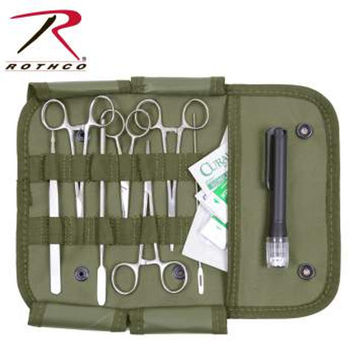 "The Rothco Surgical Kit features all stainless steel medical instruments in a nylon MOLLE compatible pouch. The contents of the surgical kit include 2 straight hemostats, a curved hemostat, a pair of scissors, tweezers, a #3 scalpel handle, 2 scalpel blades, a suture set, a holder, a needle probe, 2 alcohol wipes, 2 antiseptic BZK wipes, and a pen light. Pouch measures 6"" x 11"" x 0.5"". Instruments are not sterile."