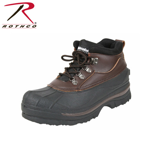 Rothco's 5 Inch Cold Weather Hiking Boots are perfect for cold snowy and wet conditions. These winter boots will keep your feet warm and dry. Rothco's patented Thermoblock technology provides insulation (200gm) for warmth, the seams of the duck boots are taped to ensure waterproofing and thermal rubber outsoles stay pliable and provide traction in the most extreme weather conditions.