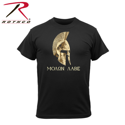 """61160-Molon Labe-Black Tee Have you seen the movie """"300"""" ? Now take home the Tee! Rothco's """"Molon Labe"""" t-shirt is designed with the iconic saying and imagery on the front of the shirt. Molon Labe translates to """"come and take"""", a classical expression of defiance reportedly spoken by King Leonidas I in response to the Persian army's demand that the Greeks surrender their weapons at the Battle of Thermopylae."""