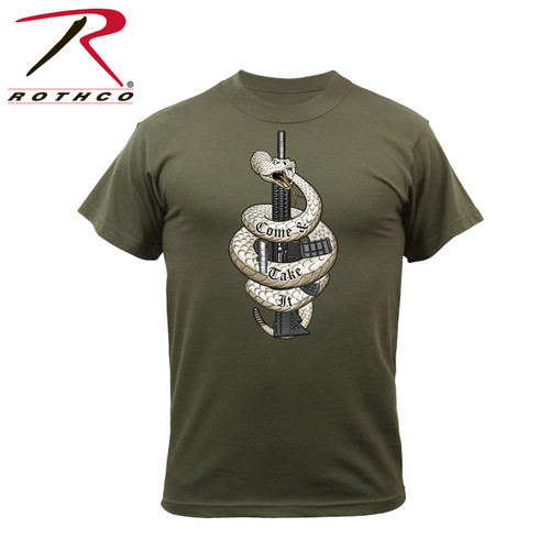 """61560-Come and Take it-Olive Drab Tee Rothco's """"Come & Take It"""" printed graphic t-shirt is 60% cotton/ 40% polyester material. The front graphic features the iconic expression of defiance """"Come and Take It"""" with a detailed image of a rifle and snake."""