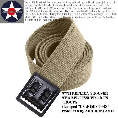 WWII Replica M1937 Web Belt US JQMD 1943 for your trousers, pants, fatigues NOT A PISTOL BELT