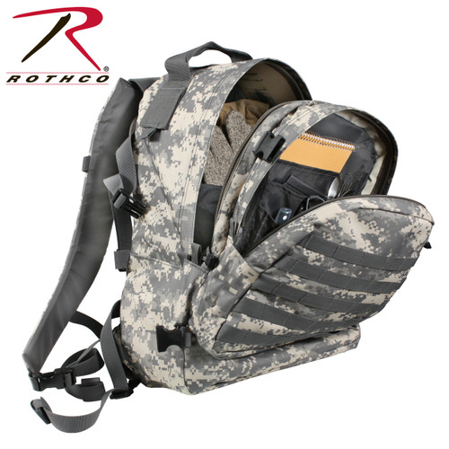 Heavyweight, MOLLE Compatible, Top Carry Handle, Pen Holders, 2 Cell Phone/ID Pockets, Hook And Loop Tie Down, MOLLE Loops, Mesh Pocket, And Hook And Loop Tie Downs, Padded Back With Mesh Backing, Back Zippered Compartment Holds 3 Liter Hydration Bladder (not Included) Padded Lumbar Support, Removable Waist Strap With Quick Release Buckle