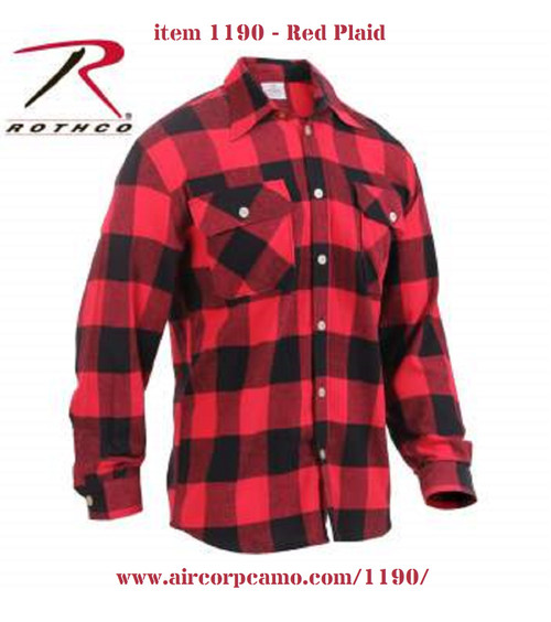 Rothco Lightweight Flannel Shirt - Red Plaid (1190)