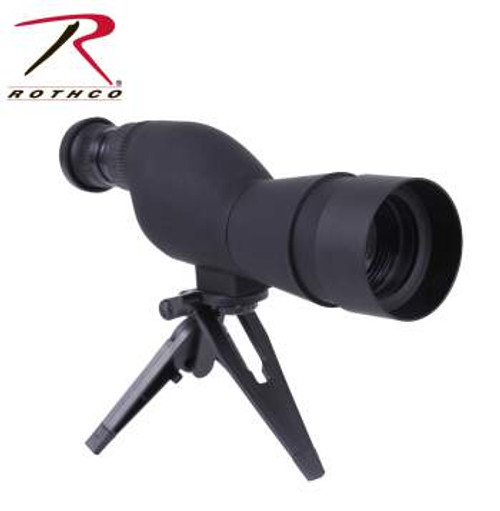 The Rotcho Variable Power Spotting Scope features a 15x-40x adjustable zoom and a Blue Lens Coating, to reduce reflective light and increase optical clarity. Comes with a tripod, manual, pouch, and cloth.