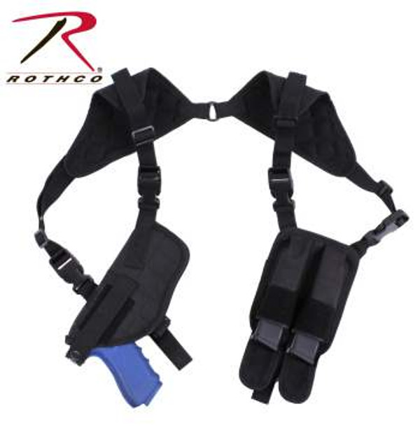 The Rothco Ambidextrous Undercover Shoulder Holster is the perfect holster for police and public safety professional featuring a pistol holster opposite 2 magazine pouches. There are 2 side release buckles on each side to swap the positions of the holster and magazine pouches for left handed or right handed users. This gun holster is ideal for concealed carry. Designed to fit standard full size auto with 4-5 inch barrel.